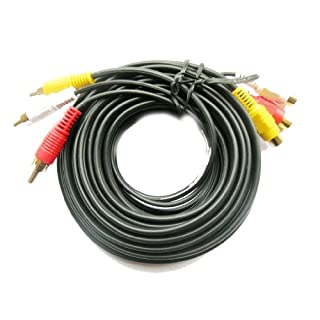 Gold 3 Phono Male to Female RCA 15M A/V Extension Lead Triple Audio Video Cable Red White Yellow