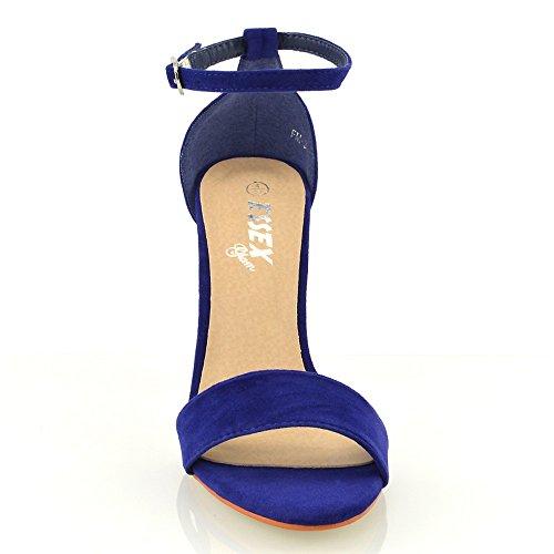 Essex Glam Sandalo Donna Peep Toe Tacco a Blocco Cinturino Caviglia Blu (Königsblau Wildlederimitat)