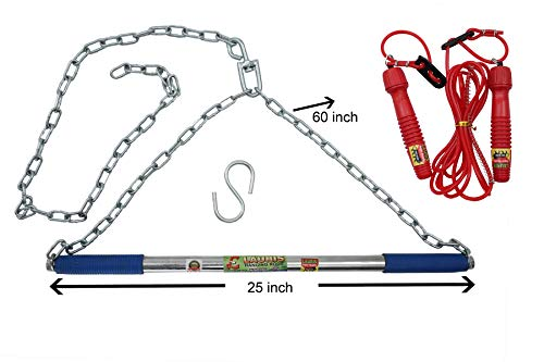Lauris Combo of Pull up Height Increase Exercise bar chinnup bar Having Chain and Skipping Rope