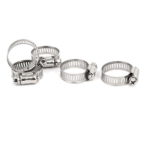 DealMux 19-29mm Metal Adjustable Cable Tight Worm Gear Hose Clamp Silver Tone 5pcs -