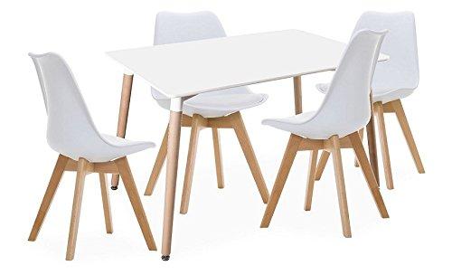 Lote de Mesa Kiel 120 + 4 sillas Wooden Blancas