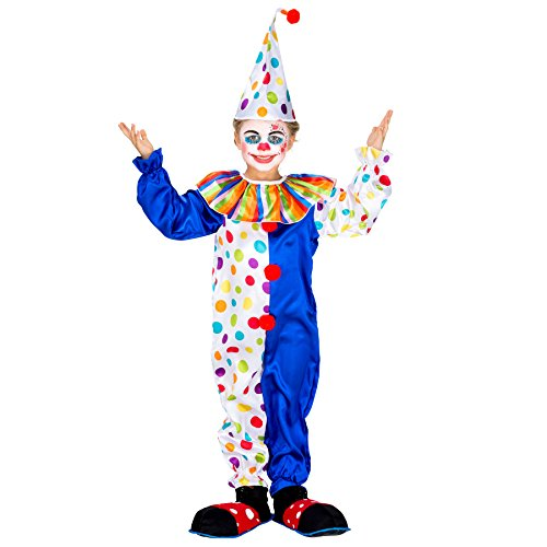 TecTake dressforfun Kinder-Teenkostüm Clown Jux | Wundervoller, Farbiger Overall | inkl. Zipfelmütze mit Bommel (7-8 Jahre | Nr. 300806)