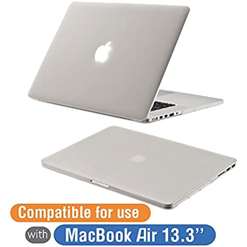 Orzly® - Protective SnapShell Cover for MacBook Air (2016 Modelo 13,3 Pulgadas Versión) - TRANSLUCENT Case (Funda Semi Transparente BLANCO) con Carcasa Sólida y Recortes para Periféricos y Pies Goma