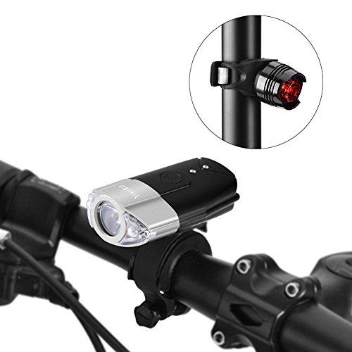 LED Fahrradbeleuchtung, wiederaufladbar Fahrradlicht Fahrradlampen Frontlicht & Rücklicht - Ge-licht-schalter