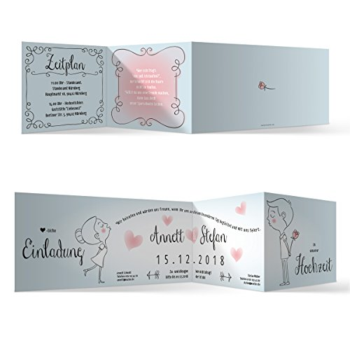 10 x Hochzeit Einladungskarten Hochzeitseinladungen Hochzeitskarten - Küssendes Paar