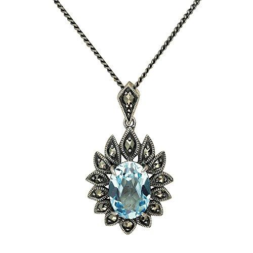Esse Marcasite Ohrhänger aus Sterlingsilber, mit blauem Topas und Markasit, viktorianischer Stil, Blumen Halskette 40 cm