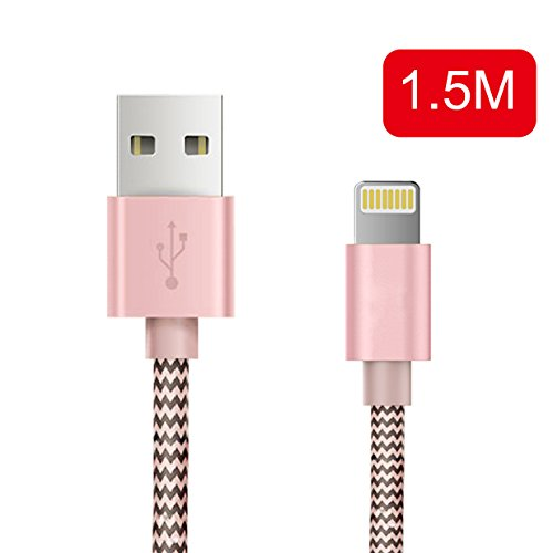 Preisvergleich Produktbild OTISA 1.5M iPhone Ladekabel Lightning USB Kabel für Apple iPhone 6 Plus / 6 / 5 / 5S / 6s iPad 4 iPad Mini / Air iPod 5 / iPod7(ROSA)