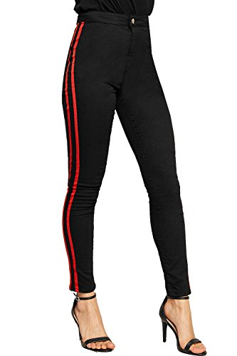 WEARALL - Damen Kontrast Rennfahrer Gestreift Tasche Hose Damen Strecke Dünn Bein Jeans - Schwarz - 44 (Gestreifte Skinny Jeans Schwarz)