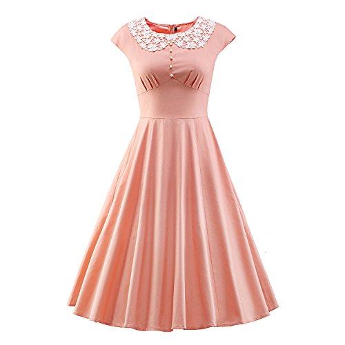 LUOUSE Damen Vintage Rockabilly Business Retro 50er Jahr Stil (50er Kleid Rosa Jahre)
