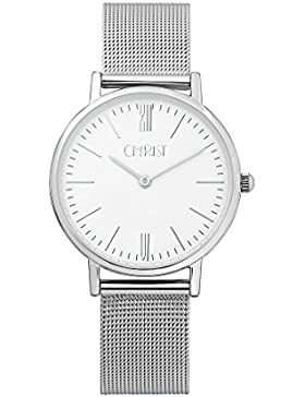 CHRIST times Damen-Armbanduhr Analog Quarz One Size, weiß, silber