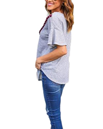 Auxo Damen Kurzarm Lose Spitzen Oversize Tunik T shirt Party Bluse Oberteil Tops Grau
