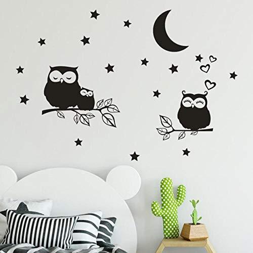CDNY Star Moon Owl Abnehmbarer Schalter Aufkleber Wohnzimmer Wohnzimmer Wandaufkleber Art Deco Light Wohnzimmer Wandaufkleber 60x90cm
