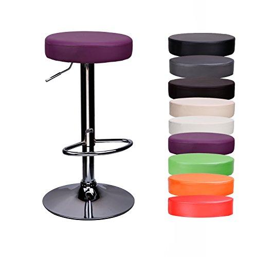 CCLIFE 1er/2er-Set Rund Barhocker Barstuhl ohne Lehne Höhenverstellbar Drehbar Kunstleder für Küche usw. 63-83 cm, Farbe:Lila, Größe:1er-Set