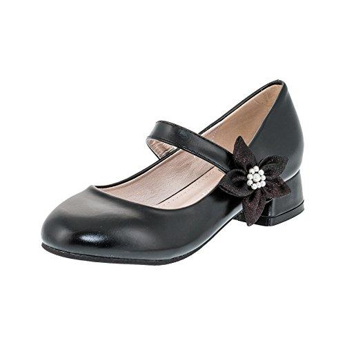 Festliche Mädchen Pumps Ballerinas Schuhe mit Absatz in vielen Farben M370sw Schwarz 34 (Schwarze Ballerinas Mädchen)