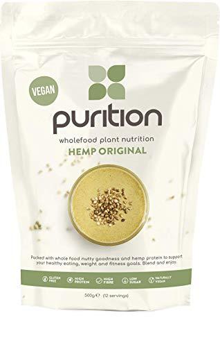 Purition frullato proteico vegano con semi di canapa crudi (500gr) integratore proteico per una sana perdita di peso e recupero post allenamento - sostituto di un pasto con il 100% di ingredienti naturali