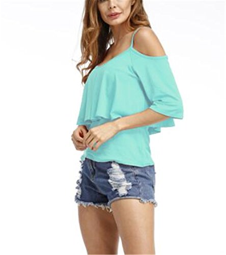 Swallowuk Frauen Trägerlos kurzärmelige Volltonfarbe Doppelbügel T-Shirt Hemdjacke Freizeit wildes Hellblau