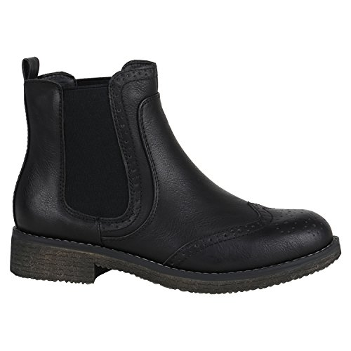 Stiefelparadies Damen Stiefeletten Chelsea Boots Zipper Leder-Optik Schuhe Nieten Metallic Lack Glitzer Blockabsatz Booties Profilsohle Flandell Schwarz Camiri