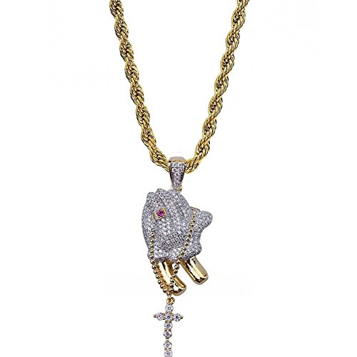 WJMSS Hip Hop Halskette Kreuz Gebet Geste Micro-Intarsien Zirkon Anhänger Kette Vintage religiöse christliche Halskette Männer/Frauen