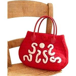 Handtasche Damen Handtasche gehäkelte Tasche rot