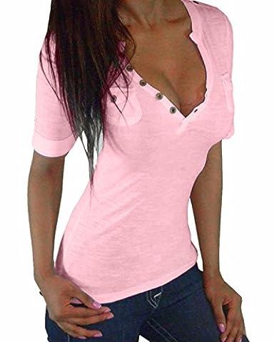 ZANZEA Damen Kurzarm V-Ausschnitt Stretch Shirt Bluse Top Knopf (EU 46 / US 14, Rosa)