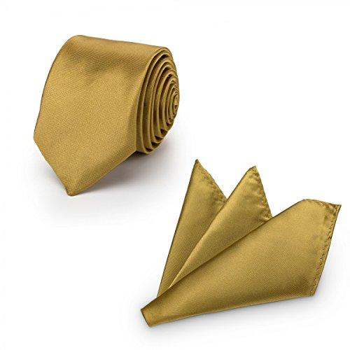Rusty Bob - Krawatte mit Einstecktuch (in vielen Farben) - für die Verlobung, die Hochzeit - Schlips mit Taschentuch für das Sakko - 2er-Set - Gold