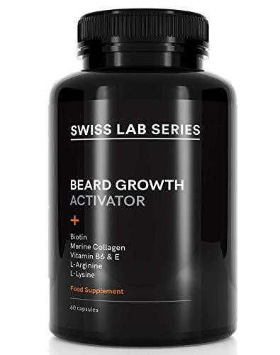 Bartwuchsmittel für Männer - Natürliches Bartwachstumsmittel mit Meeres-Kollagen für beschleunigten Bart Wuchs und vollere Barthaare -...