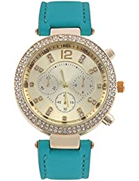 KMS Ring Diamond Women's Turquoise Analog Watches