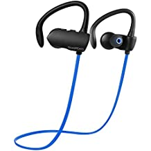 SoundPEATS Auriculares Deportivos inalambrico cascos Bluetooth 4.1 auriculares con micrófono, resistente al agua y sudor y soporte técnico de llamadas con manos libres para PC iPhone Samsung xiaomi Andriod Moviles - Q9A (Negro/Azul)