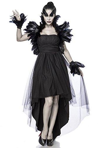Krähe Kostüm - Mask Paradise Düstere Krähe-Damenkostüm Deluxe mit Federn schwarz M