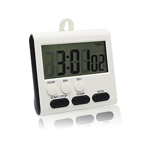 Minuteur numérique de cuisine avec grand écran LCD et clock-function Support dos magnétique support de suspension, 1 PCS White and Black