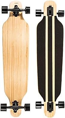 Ultrasport Downhill - Monopatín Longboard para el cruising en la ciudad y el parque, color negro / marrón