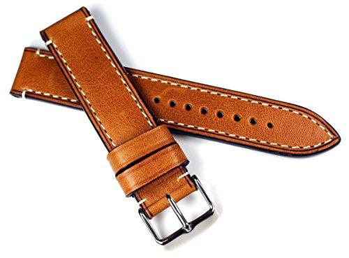 20mm / 20 mm RIOS1931 CT XL kräftiges Rindsleder Military Style Armband Retro Look quality STRAP hell braun Militär Marine Flieger Uhrenband Band Top Qualität