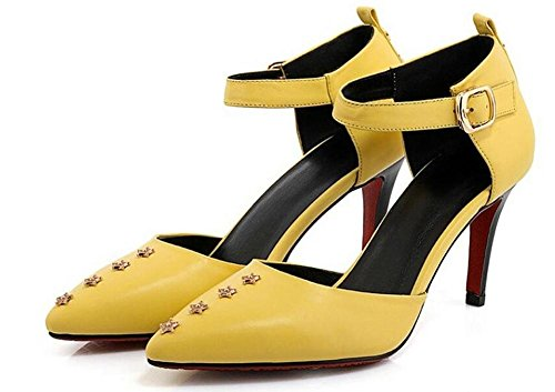Beauqueen Pumps Niet Stern Dekoration Anke Straps Stiletto Mid Heel Spitz-Toe Frauen Casual Party Schuhe Europa Größe 34-39 , yellow , 34 Skate-tennis-schuhe Für Mädchen