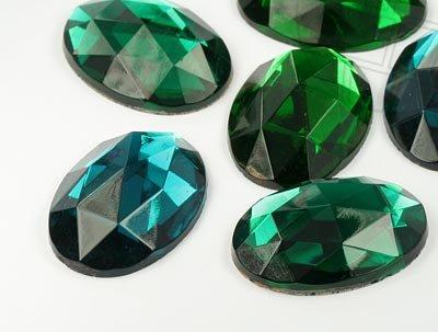 Schmucksteine / Strasssteine / 18.0x25.0mm, Oval, Emerald/Blue Zircon-Mix, 30 Stück