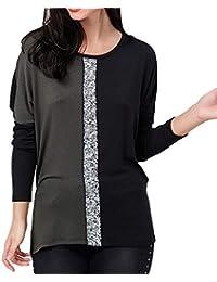 27410bb310 Malloom Camiseta de manga larga con cuello en diagonal y contraste en  contraste con la camisa Mujer Manga Larga V…