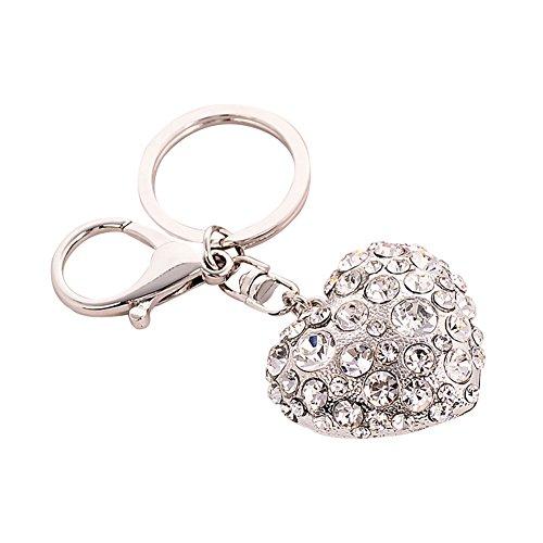 PERIWIN Schlüsselanhänger, modisches Herz mit Strasssteinen, für Damen, Schlüsselanhänger, Tasche, hängende Dekoration, silberfarben