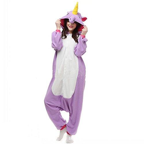 Jysport Licorne Pyjama Kigurumi Unisexe Animal Polaire à capuche Cosplay Costume Pyjama pour enfant, femme, homme purple unicorn