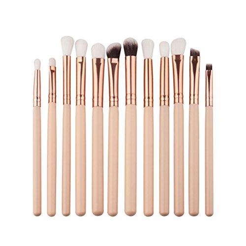 Siswong 12 Pcs Mini Pinceaux de Maquillage Sourcils Ombre à Paupières Brosse Ensembles Kits Outils