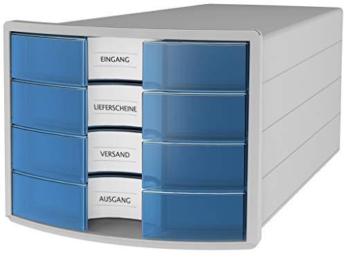 HAN Schubladenbox IMPULS 1012-64 in lichtgrau/transluzent-blau Stapelbare Sortierablage mit 4 großen, Geschlossenen Schubladen für DIN A4/C4/ inkl. Beschriftungsschilder
