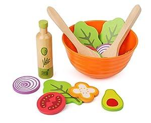 Small Foot Company-11476 Juego de ensaladas de Madera, Accesorios de Cocina para niños Vegetarianos, Incl. Cuenco, ensaladeras y aderezos Juguetes, (11476)