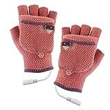 Cikuso USB-beheizte Handschuhe Mitten Winter Hände Warme Laptop-Handschuhe Voll & Halb Beheizt Fingerlose Heizung Stricken Hände Warmer Waschbar Design nacktes Rosa