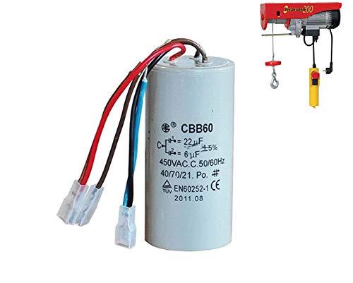 Condensatore a 3 fili ricambio paranco l'europea tiratutto per TT 125-12,5 mF + 3,5 mF