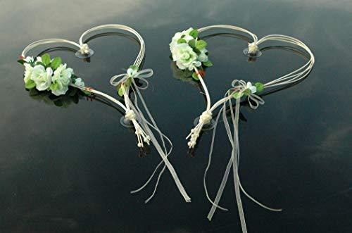 Autoschmuck ROMANTISCHE Herzen Auto Schmuck Braut Paar Rose Deko Dekoration Hochzeit Car Auto Wedding Deko (Weiß 3)