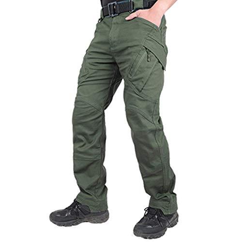 Belloo Herren Arbeitshose Baumwolle Trousers Mit Reißverschlusstaschen,Graugrün,3XL