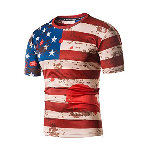 Hahuha Oberteile für Männer,Fashion Men es American Flag Printing Tees Short Sleeve T-Shirt Blouse Tops -