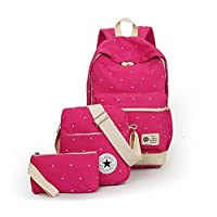 Canvas dot three pieces sets packbag fashion shoulder bag school bag junior SB06 rose red
