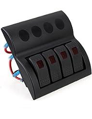 T Tocas (TM) 4 waterproofs Interrupteurs à bascule panneau noir avec surcharge Fusible, pour 12v / 24v Bateau Bus RV, Rouge Indicateur LED