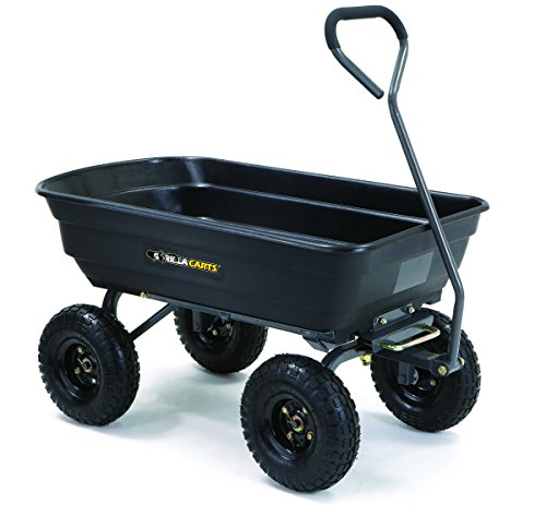 Gorilla Carts Poly Garden Dump Cart with Steel Frame and 10-in. Pneumatic Tires, 600-Pound Capacity, Black