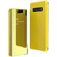 Alsoar Mirror Funda Compatible con Galaxy S9+/S9 Plus Espejo de Moda Flip Tapa Libro Carcasa Slim Brillante Colorido Duro Caso Translucent Window View 360°Protectora Caja (Amarillo)