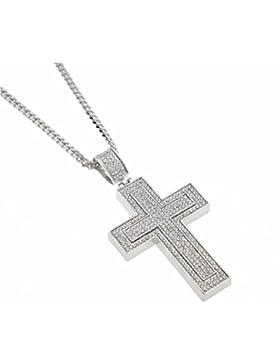 Silber Ton Iced Out Bling Halskette Jesus Kreuz Kruzifix Anhänger Herren Schmuck